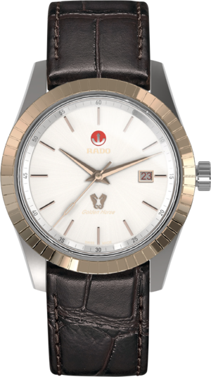 Herrenuhr Rado HyperChrome Classic mit weißem Zifferblatt und Armband aus Kalbsleder mit Krokodilprägung