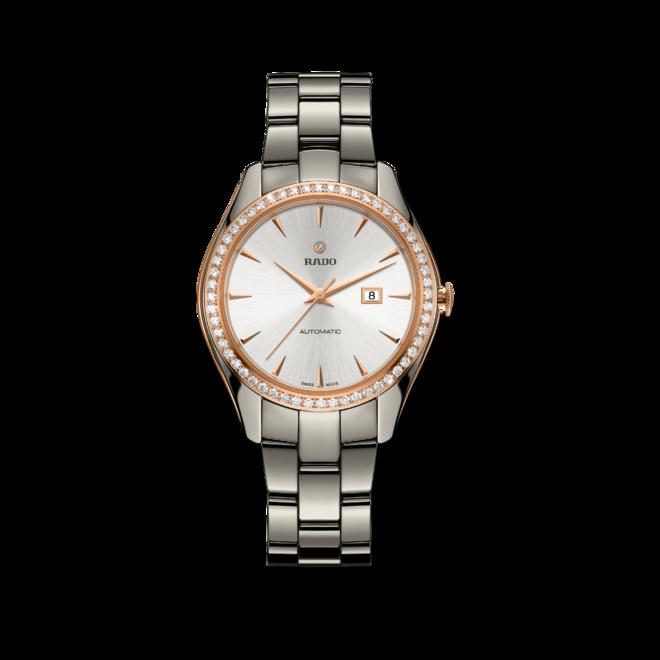 Damenuhr Rado HyperChrome Diamonds M Automatik mit Diamanten, silberfarbenem Zifferblatt und Armband aus Keramik mit Ceramos bei Brogle