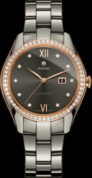 Damenuhr Rado HyperChrome Diamonds M Automatik mit schwarzem Zifferblatt und Plasma-Keramikarmband