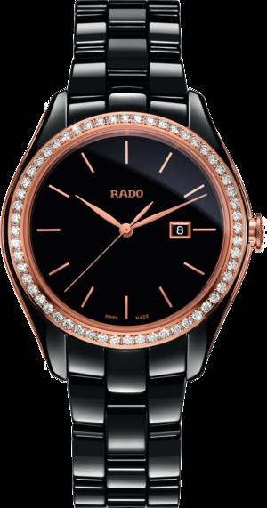 Damenuhr Rado HyperChrome Diamonds M Quarz mit Diamanten, schwarzem Zifferblatt und Keramikarmband