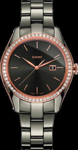 Damenuhr Rado HyperChrome Diamonds M Quarz mit Diamanten, grauem Zifferblatt und Plasma-Keramikarmband