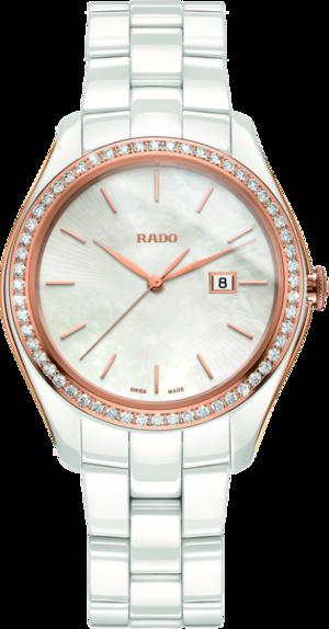 Damenuhr Rado HyperChrome Diamonds M Quarz mit Diamanten, perlmuttfarbenem Zifferblatt und Keramikarmband