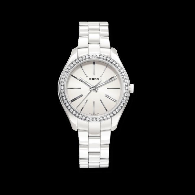 Damenuhr Rado HyperChrome Diamonds M Quarz mit Diamanten, weißem Zifferblatt und Keramikarmband
