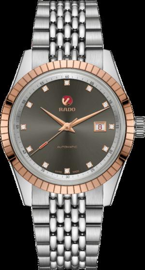 Herrenuhr Rado Golden Horse Automatic Diamonds mit Diamanten, grauem Zifferblatt und Edelstahlarmband