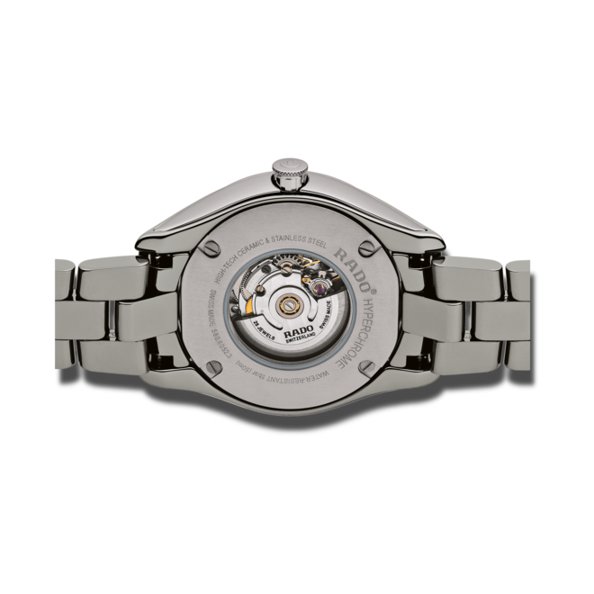 Damenuhr Rado Hyperchrome Automatik 36mm mit Diamanten, grauem Zifferblatt und Armband aus Keramik mit Ceramos bei Brogle