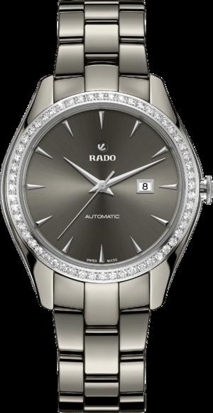 Damenuhr Rado Hyperchrome Automatik 36mm mit Diamanten, grauem Zifferblatt und Armband aus Keramik mit Ceramos