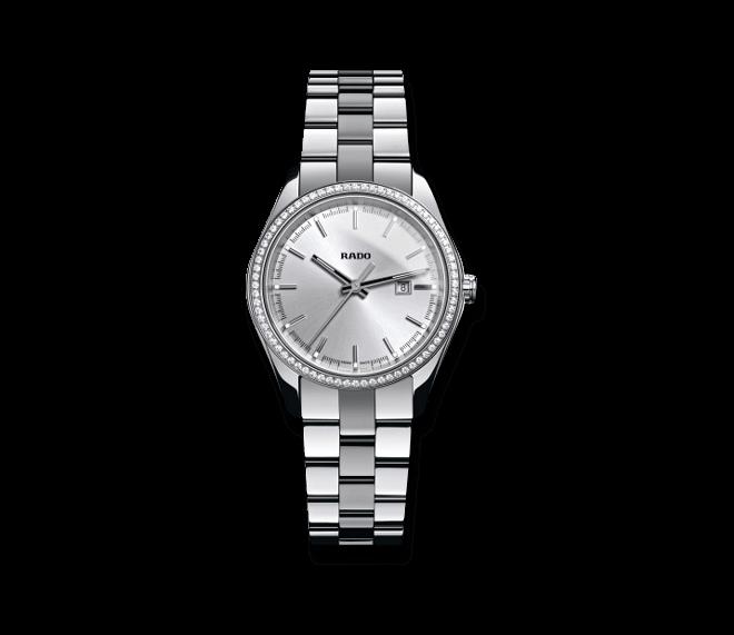 Armbanduhr Rado HyperChrome Jubilé S Quartz mit Diamanten, silberfarbenem Zifferblatt und Edelstahlarmband