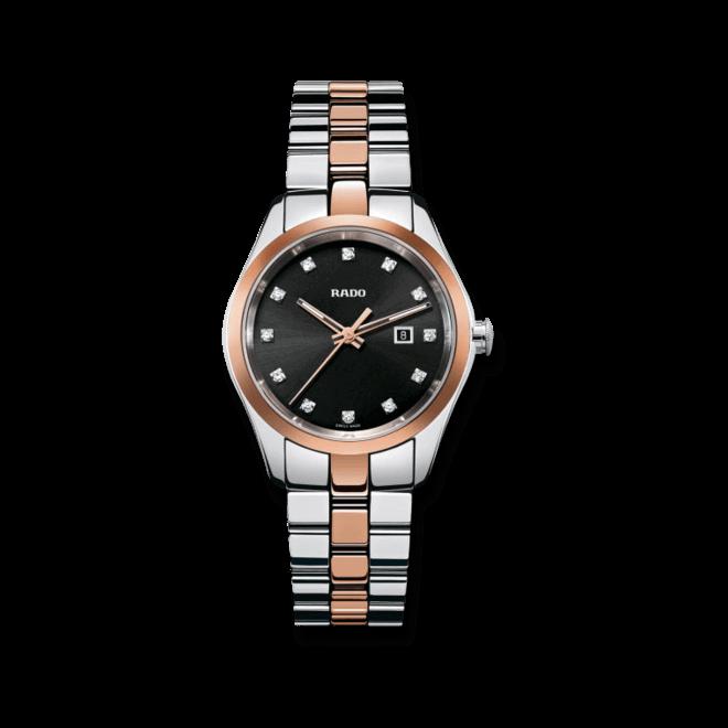 Armbanduhr Rado HyperChrome Jubilé S Quartz mit Diamanten, schwarzem Zifferblatt und Ceramosarmband