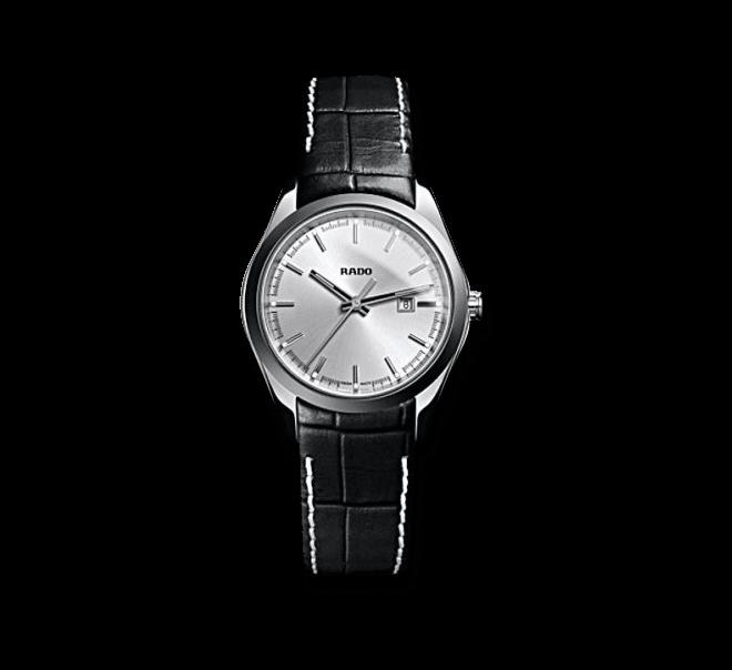 Armbanduhr Rado HyperChrome S Quartz mit silberfarbenem Zifferblatt und Kalbsleder-Armband