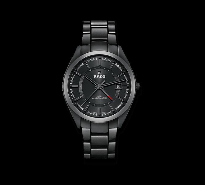 Armbanduhr Rado HyperChrome UTC Automatik mit schwarzem Zifferblatt und Keramikarmband
