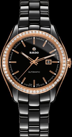 Damenuhr Rado HyperChrome M Automatik Limited Edition mit Diamanten, schwarzem Zifferblatt und Keramikarmband