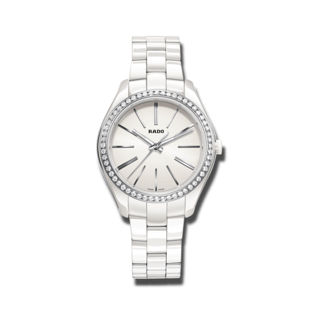 Damenuhr Rado HyperChrome M Quartz mit Diamanten, weißem Zifferblatt und Keramikarmband
