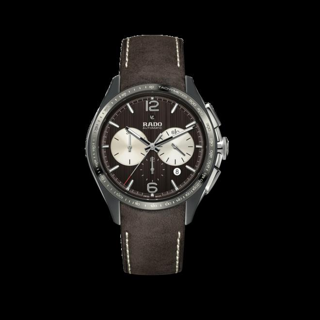 Herrenuhr Rado HyperChrome Tennis Automatik Chronograph mit braunem Zifferblatt und Kalbsleder-Armband bei Brogle