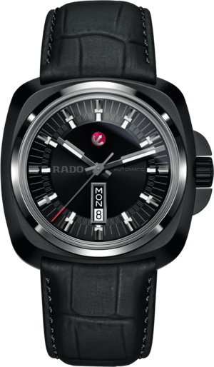 Herrenuhr Rado HyperChrome XL Automatik 1616 mit schwarzem Zifferblatt und Kalbsleder-Armband
