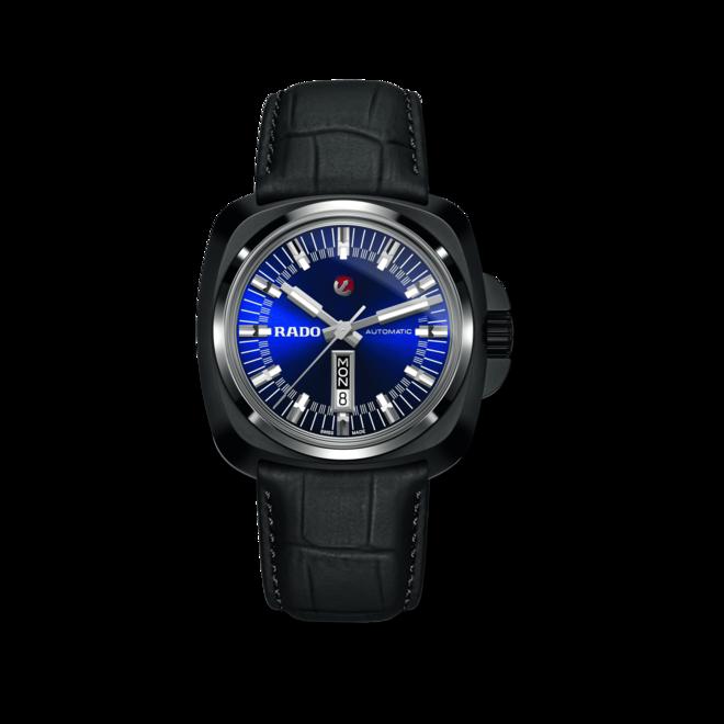 Herrenuhr Rado HyperChrome XL Automatik 1616 mit blauem Zifferblatt und Armband aus Kalbsleder mit Krokodilprägung bei Brogle