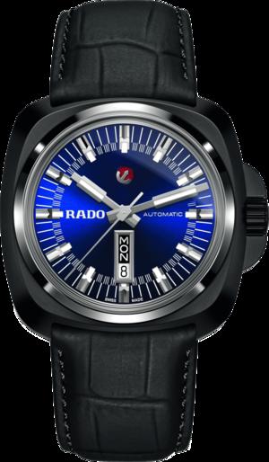 Herrenuhr Rado HyperChrome XL Automatik 1616 mit blauem Zifferblatt und Armband aus Kalbsleder mit Krokodilprägung