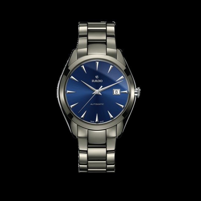Herrenuhr Rado HyperChrome XL Automatik C07 mit blauem Zifferblatt und Armband aus Keramik mit Ceramos bei Brogle