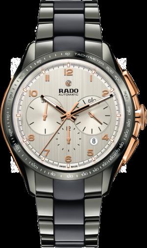 Herrenuhr Rado HyperChrome XXL Chronograph Automatik mit silberfarbenem Zifferblatt und Armband aus Keramik mit Ceramos