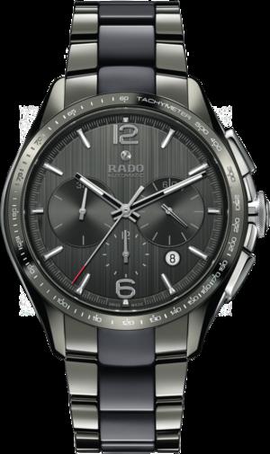 Herrenuhr Rado HyperChrome XXL Chronograph Automatik mit grauem Zifferblatt und Armband aus Keramik mit Ceramos