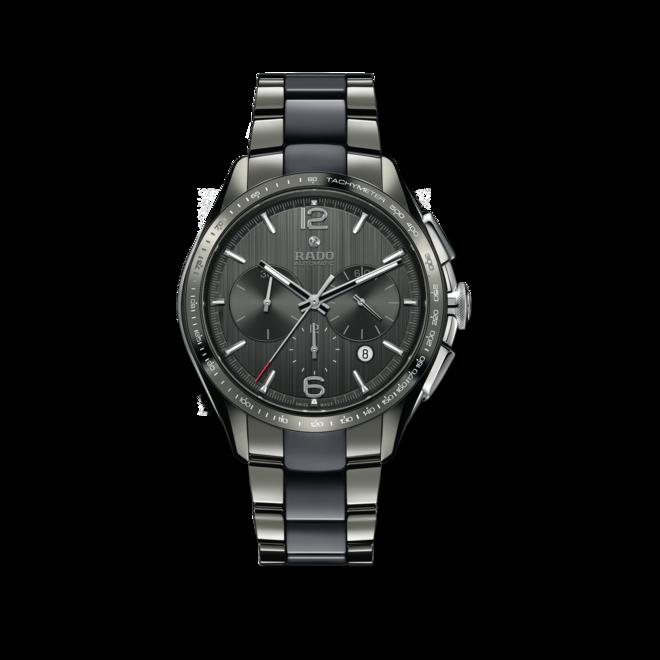 Herrenuhr Rado HyperChrome XXL Chronograph Automatik mit grauem Zifferblatt und Armband aus Keramik mit Ceramos bei Brogle
