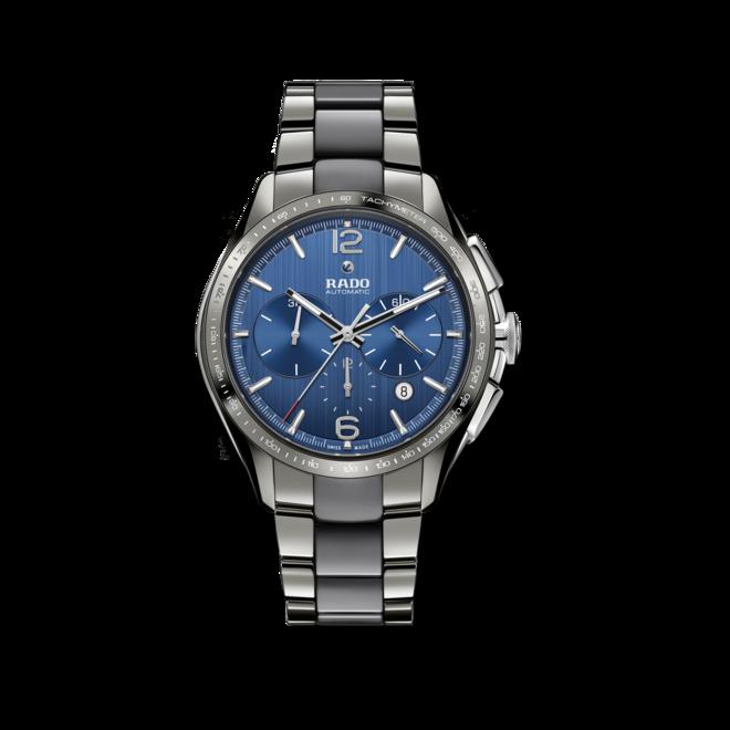 Herrenuhr Rado HyperChrome XXL Chronograph Automatik mit blauem Zifferblatt und Armband aus Keramik mit Ceramos bei Brogle