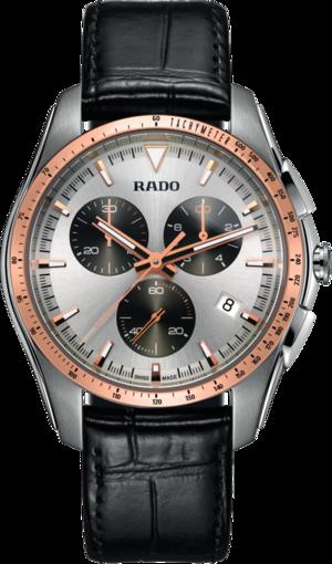 Herrenuhr Rado HyperChrome XXL Chronograph Quarz mit silberfarbenem Zifferblatt und Armband aus Kalbsleder mit Krokodilprägung