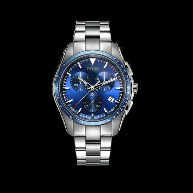 Herrenuhr Rado HyperChrome XXL Chronograph Quarz mit blauem Zifferblatt und Edelstahlarmband bei Brogle
