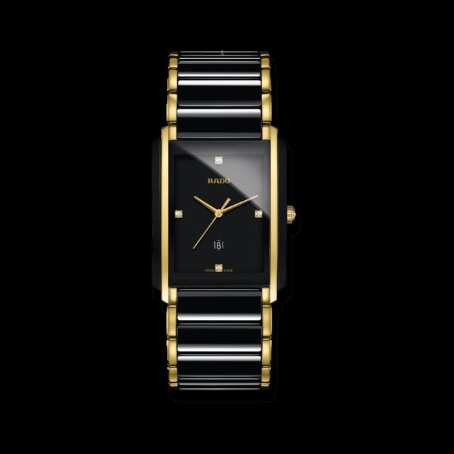 Armbanduhr Rado Integral Diamonds L Quarz mit Diamanten, schwarzem Zifferblatt und Edelstahlarmband bei Brogle