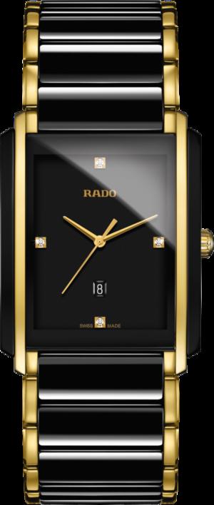 Armbanduhr Rado Integral Diamonds L Quarz mit Diamanten, schwarzem Zifferblatt und Edelstahlarmband