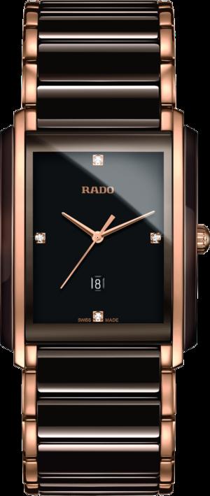 Damenuhr Rado Integral Diamonds L Quarz mit Diamanten, braunem Zifferblatt und Edelstahlarmband