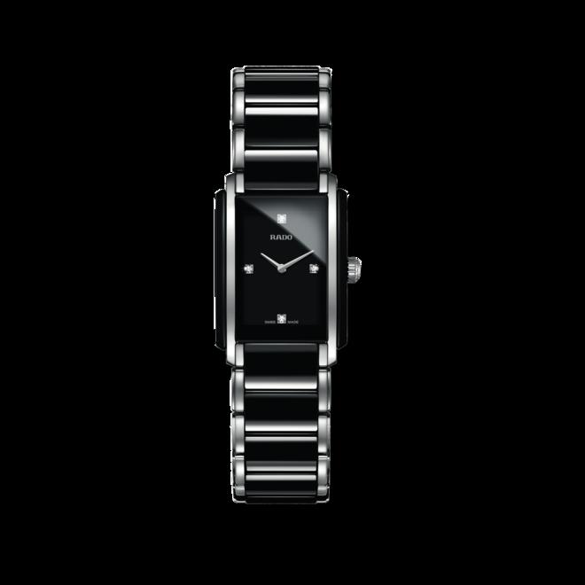 Damenuhr Rado Integral Diamonds S Quarz mit Diamanten, schwarzem Zifferblatt und Edelstahlarmband bei Brogle