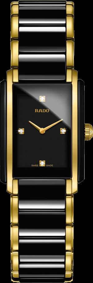 Damenuhr Rado Integral Diamonds S Quarz mit Diamanten, schwarzem Zifferblatt und Edelstahlarmband