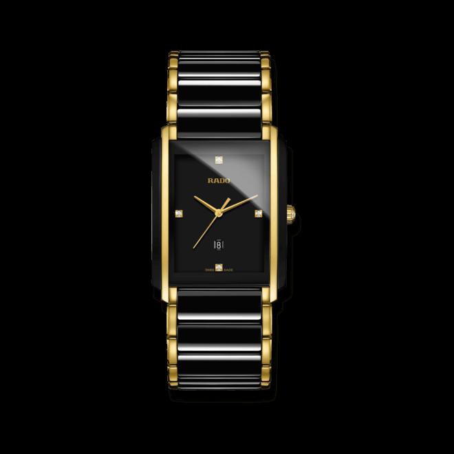 Armbanduhr Rado Integral Jubilé L Quartz mit Diamanten, schwarzem Zifferblatt und Edelstahlarmband