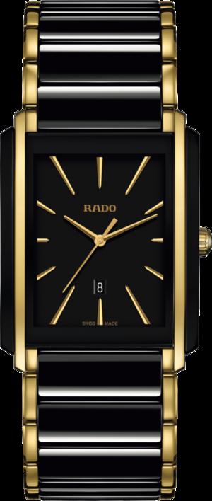 Damenuhr Rado Integral L Quarz mit schwarzem Zifferblatt und Edelstahlarmband