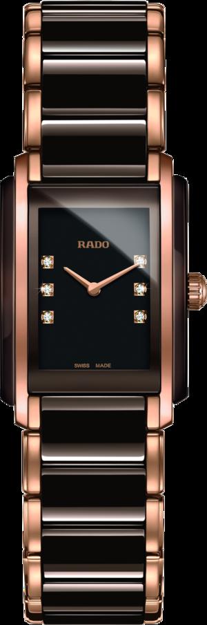 Damenuhr Rado Integral S Quarz mit Diamanten, braunem Zifferblatt und Edelstahlarmband