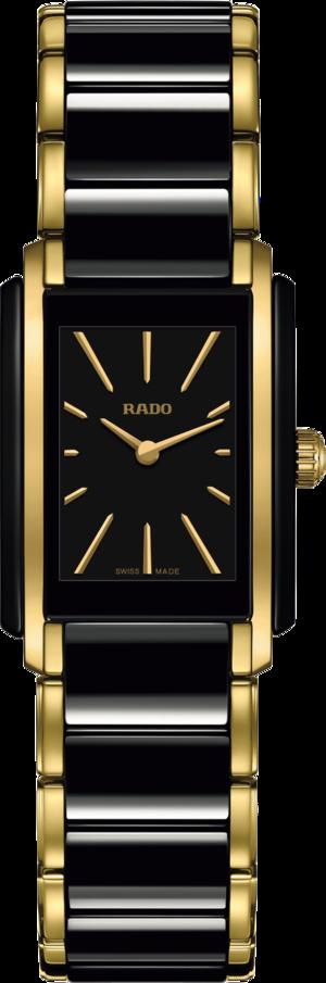 Damenuhr Rado Integral S Quarz mit schwarzem Zifferblatt und Edelstahlarmband