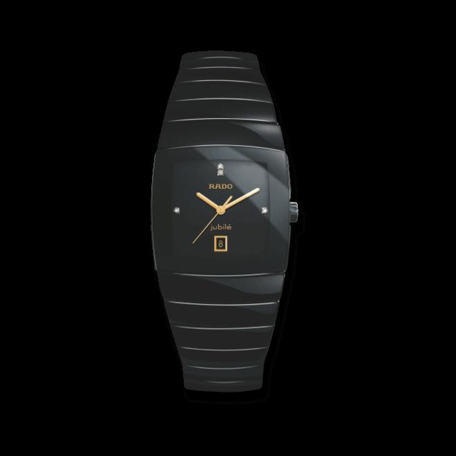 Herrenuhr Rado Sintra Jubilé XL Quartz mit Diamanten, schwarzem Zifferblatt und Keramikarmband