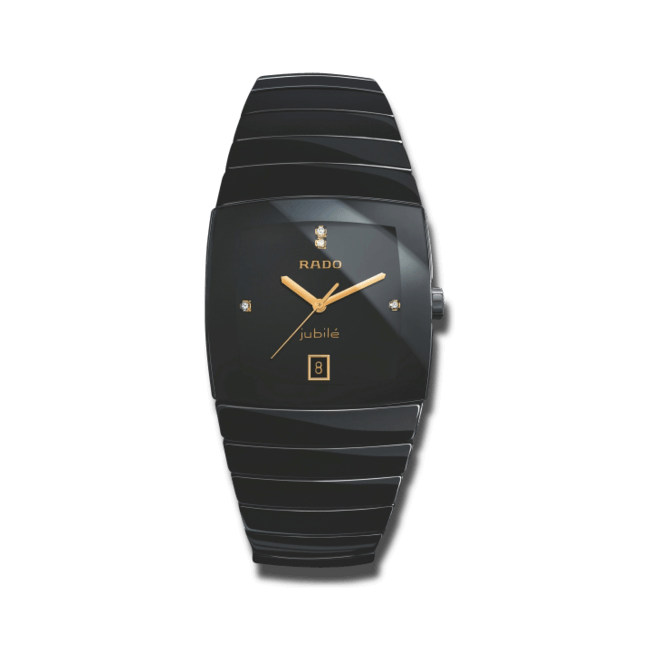 Herrenuhr Rado Sintra Jubilé XXL Quartz mit Diamanten, schwarzem Zifferblatt und Keramikarmband