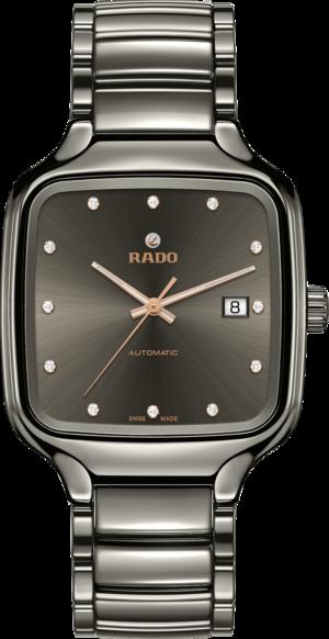 Armbanduhr Rado True Square Automatik Diamonds mit Diamanten, grauem Zifferblatt und Keramikarmband
