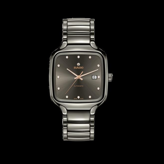Armbanduhr Rado True Square Automatik Diamonds mit Diamanten, grauem Zifferblatt und Keramikarmband bei Brogle