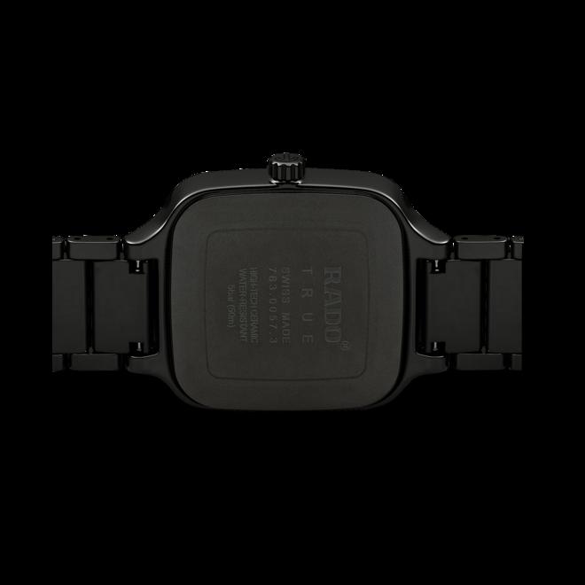 Armbanduhr Rado True Square Automatik Diamonds mit Diamanten, schwarzem Zifferblatt und Keramikarmband bei Brogle