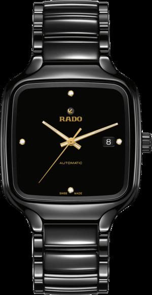 Armbanduhr Rado True Square Automatik Diamonds mit Diamanten, schwarzem Zifferblatt und Keramikarmband