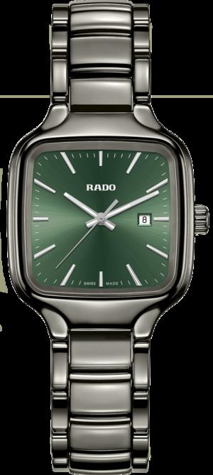 Damenuhr Rado True Square Quartz mit grünem Zifferblatt und Plasma-Keramikarmband