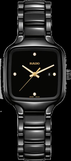 Damenuhr Rado True Square Quartz mit Diamanten, schwarzem Zifferblatt und Keramikarmband
