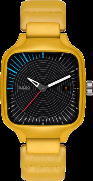 Armbanduhr Rado True Square Tej Chauhan mit schwarzem Zifferblatt und Kalbsleder-Armband