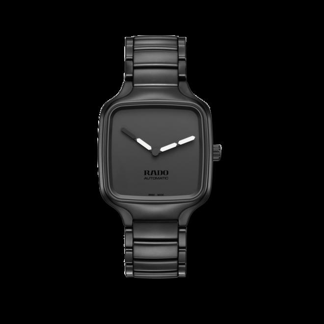 Armbanduhr Rado True Square YOY mit schwarzem Zifferblatt und Keramikarmband bei Brogle