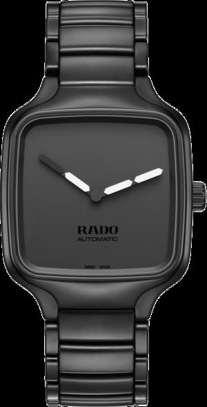 Armbanduhr Rado True Square YOY mit schwarzem Zifferblatt und Keramikarmband