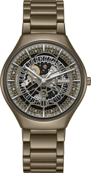 Armbanduhr Rado True Thinline Anima Limited Edition 40mm mit zweifarbigem Zifferblatt und Keramikarmband