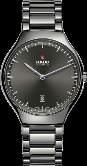 Herrenuhr Rado True Thinline Automatik 40mm mit grauem Zifferblatt und Keramikarmband