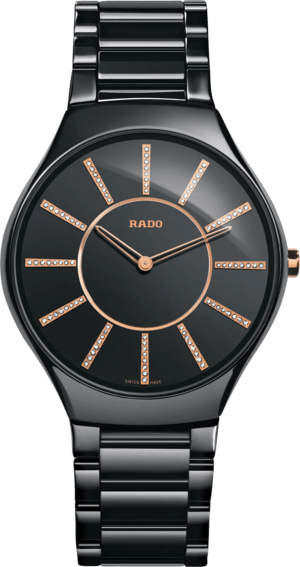 Armbanduhr Rado True Thinline Diamonds L Quarz mit Diamanten, schwarzem Zifferblatt und Keramikarmband
